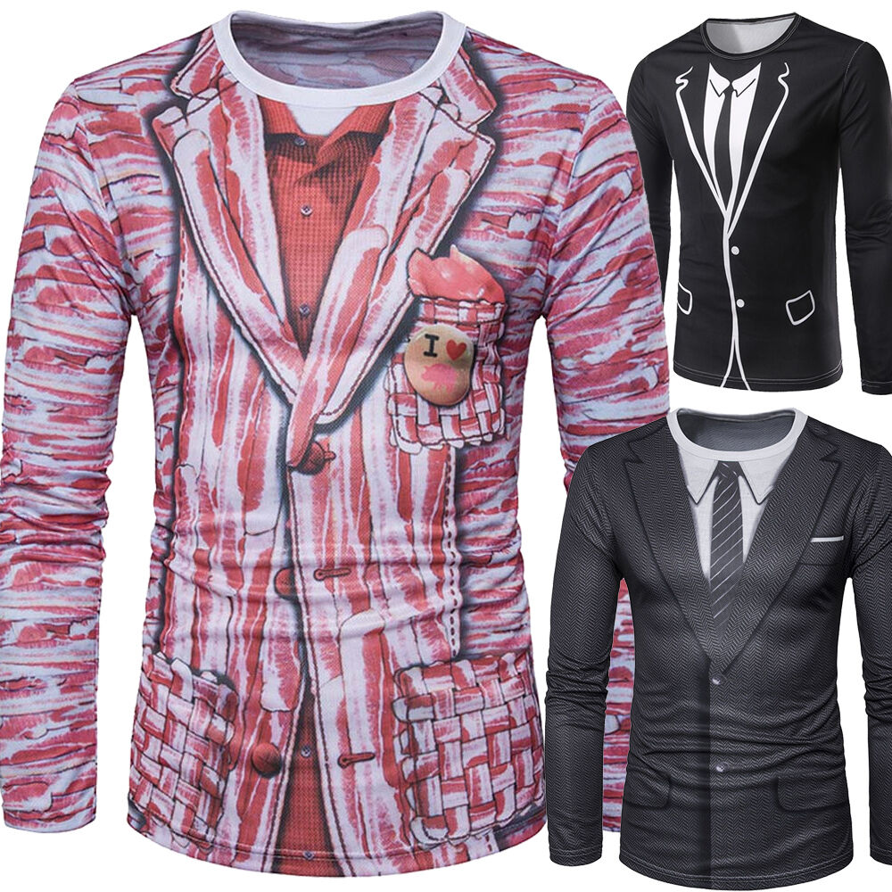Fashion Mens Slim Fit Casual Shirt Fake Suit T Shirt Long Sleeve T