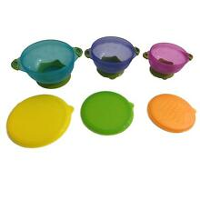 Baby Toddler Suction Bowls Set of 3 Feeding Snack Bowls Non Slip Bowls Lids New