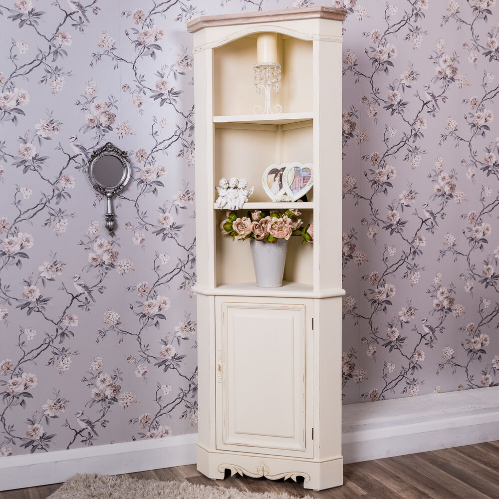 cream corner cabinet tall display unit shabby vintage chic french farmhouse ebay. Black Bedroom Furniture Sets. Home Design Ideas