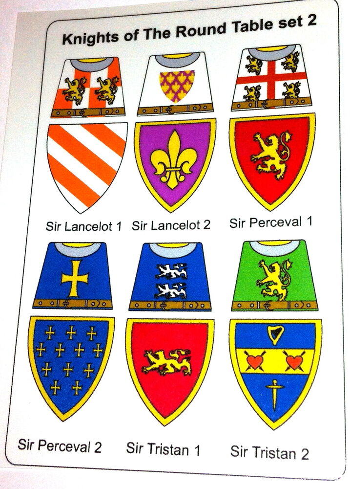 12 custom stickers knights of the round table set 2 lego torso size ebay - Knights of the round table lego ...