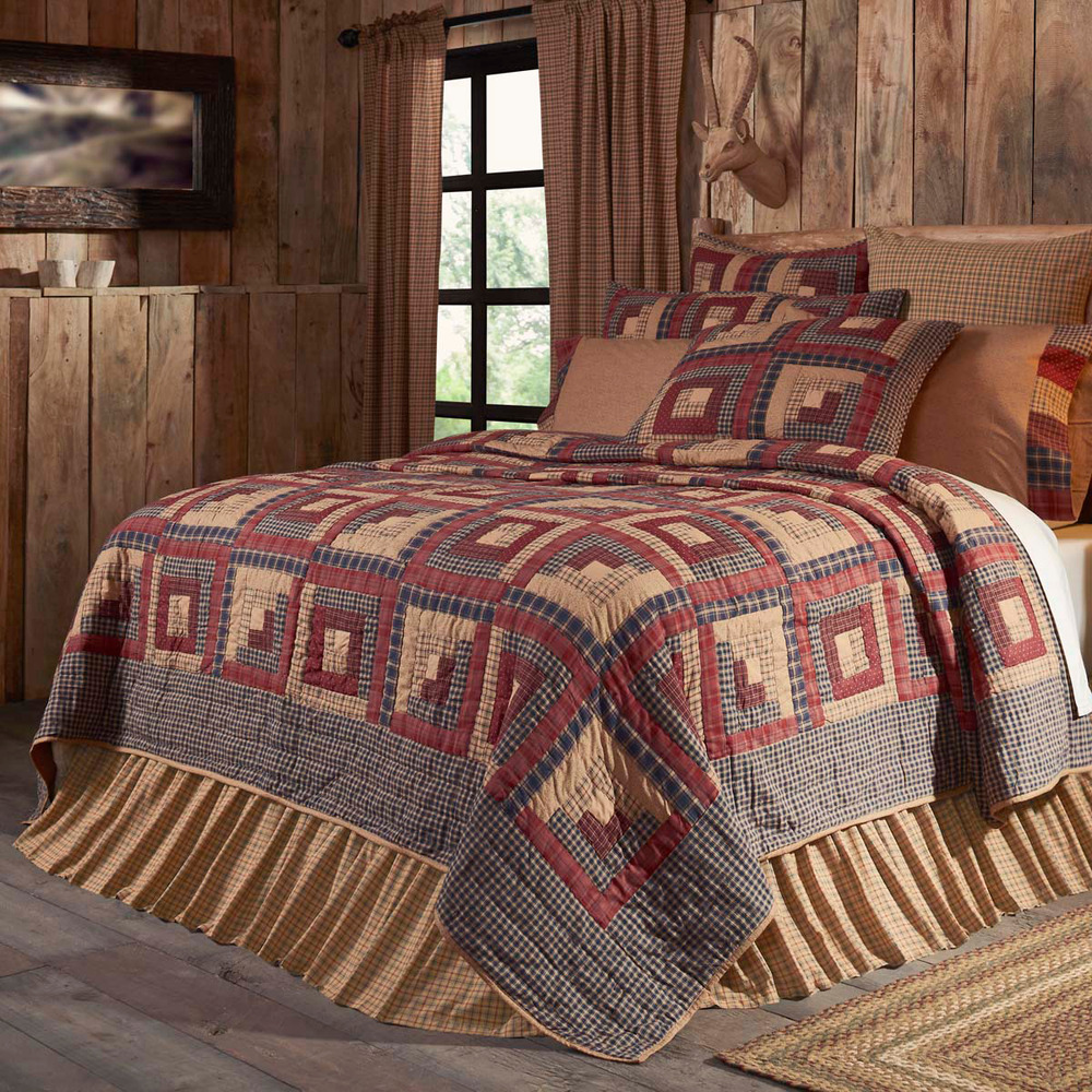 Millsboro Queen Quilt Primitive Plaid Burgundy Tan Rustic