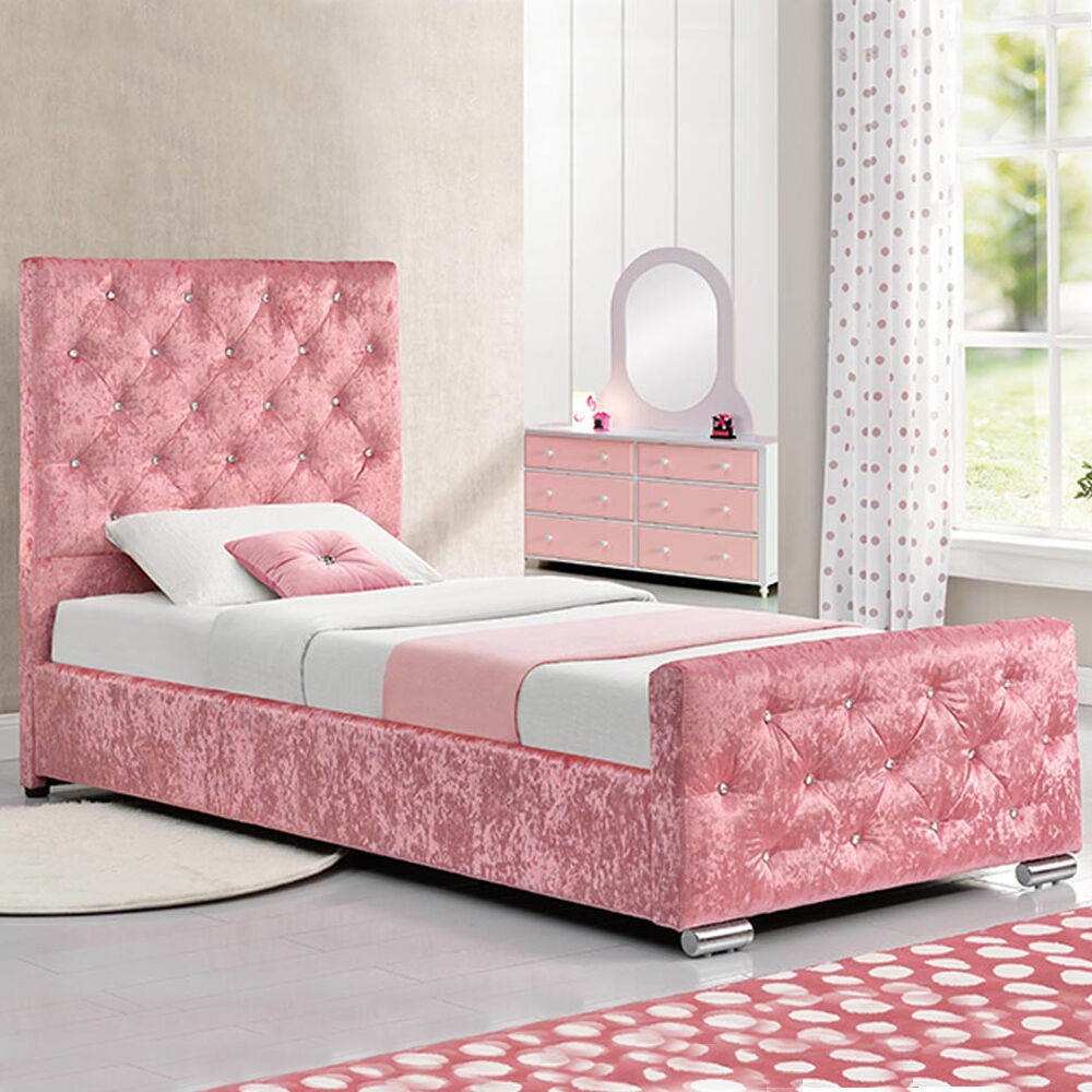 Girls Pink Crushed Velvet Fabric Princess Single Size Bed