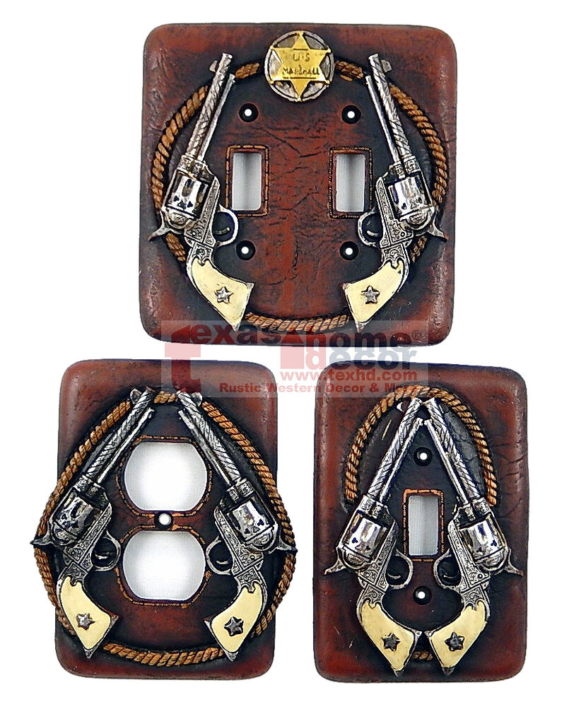 Western Rustic Double Pistols Rope Star Switch Plates