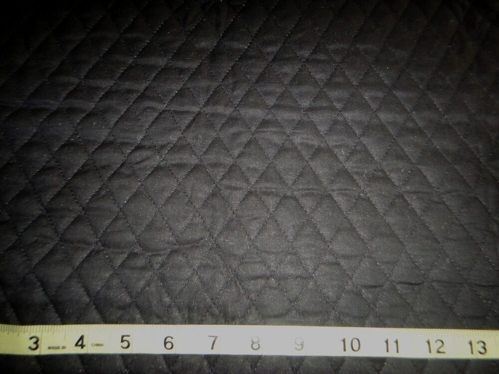 Solid Black Quilted Fabric Double Sided 1 Quot Diamond Pattern