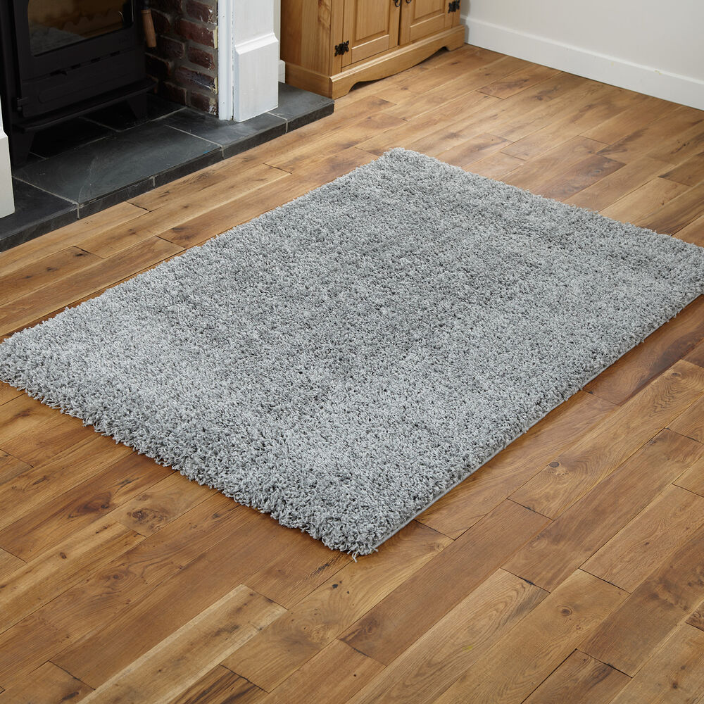 Small Large Modern Quality 5cm Thick Silver Grey Gy Rugs Round Runners Ebay