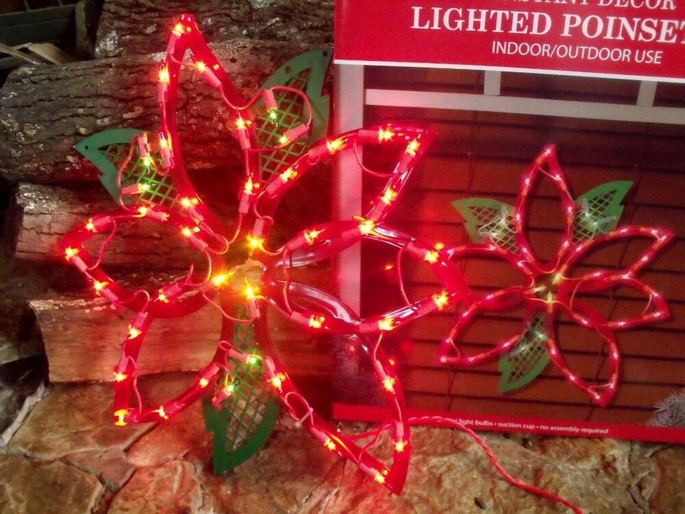 Christmas Outdoor Lighted Poinsettia Flower Sign Window