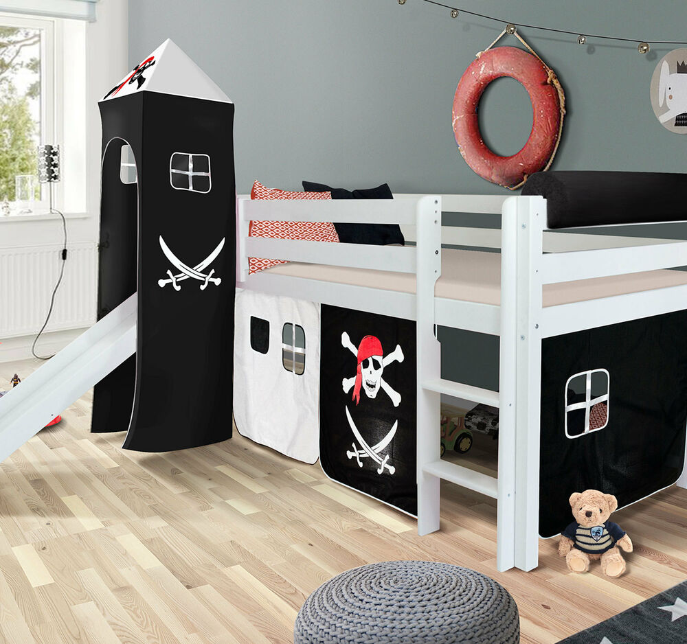 pirat hochbett spielbett mit rutsche massiv weiss turm vorhang schwarz hochbett ebay. Black Bedroom Furniture Sets. Home Design Ideas