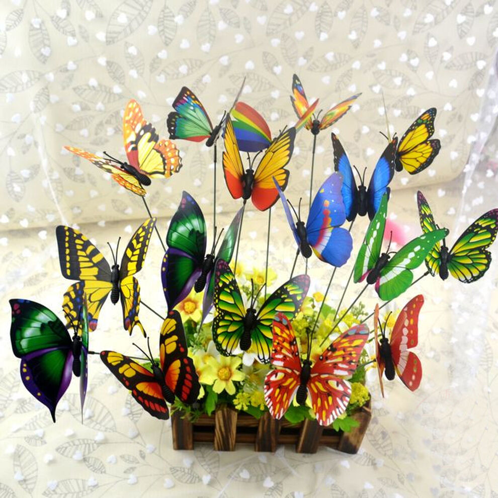 Butterfly Home Decor: 10PCS Butterfly Sticks Home Decor Garden Vase Art Lawn