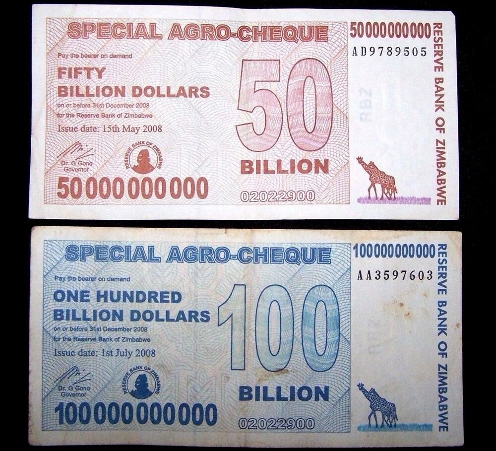 Details About 2 Zimbabwe Agro Cheque Banknotes 1 X 50 100 Billion Dollars