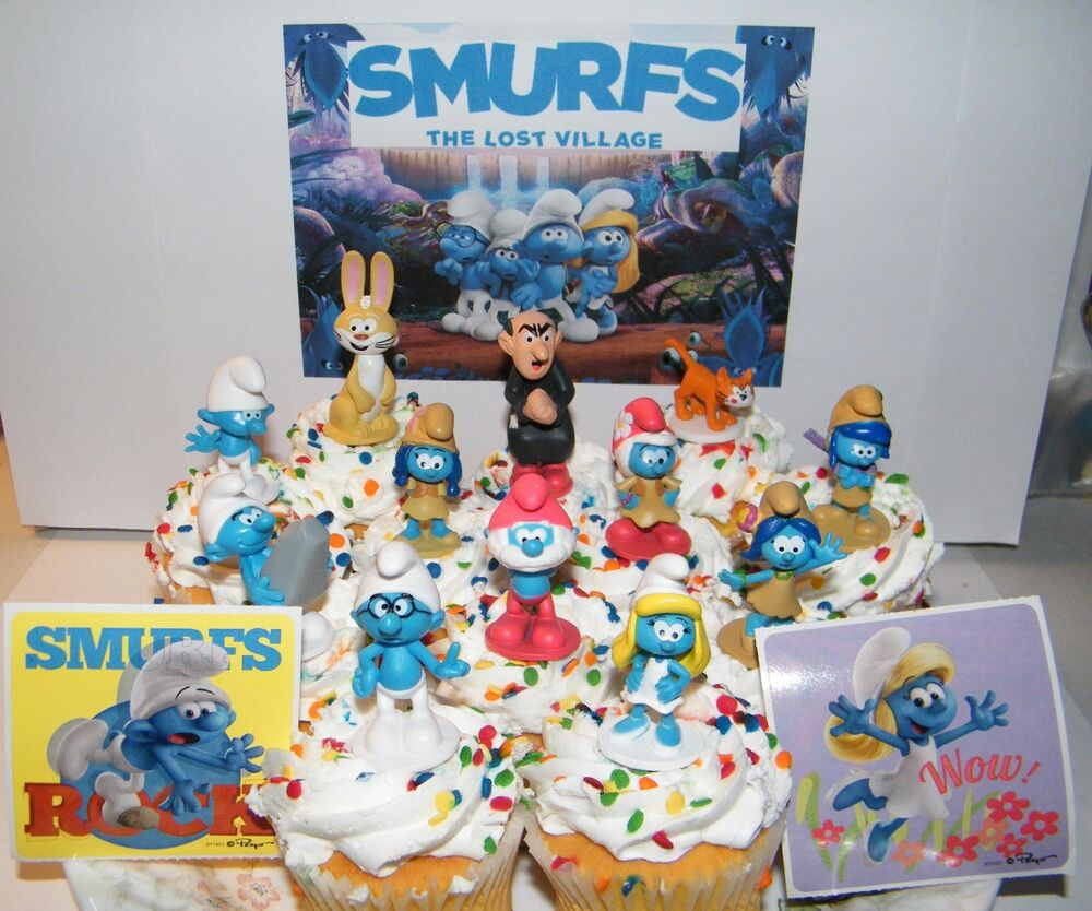 Smurfs And The Lost Village Movie Cake Toppers Set Of 14