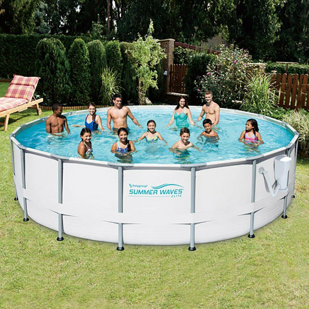Summer waves elite 18 39 foot metal frame above ground pool set with filter pump ebay for Swimming pool pumps for above ground pools