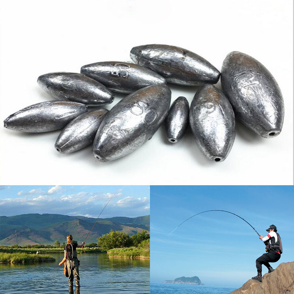 1pc olive shape weights lead sinkers pure lead making sea for Types of fishing sinkers
