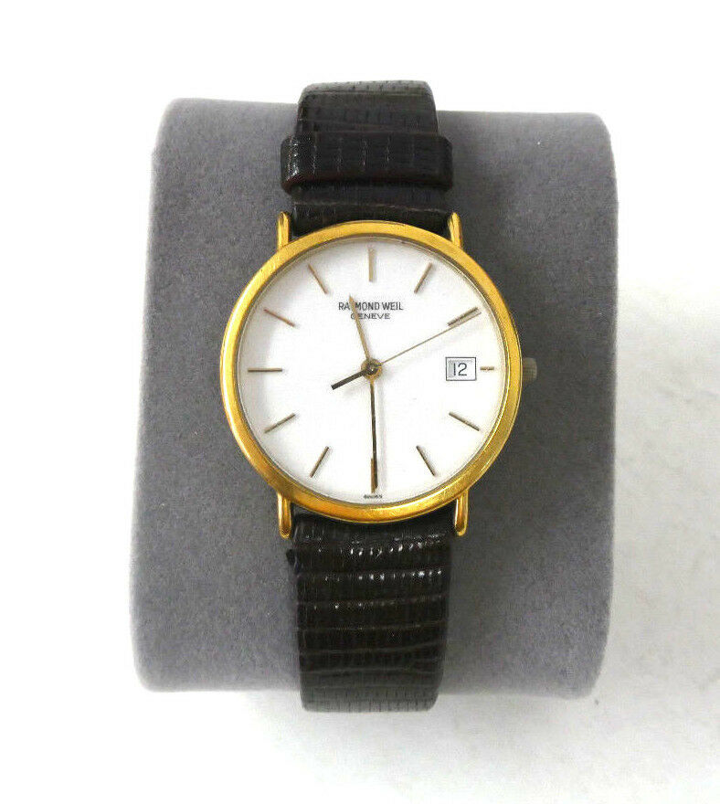 Vintage men 39 s raymond weil geneve quartz 18k gold electroplated watch 10m 5507 2 ebay for Raymond weil watch