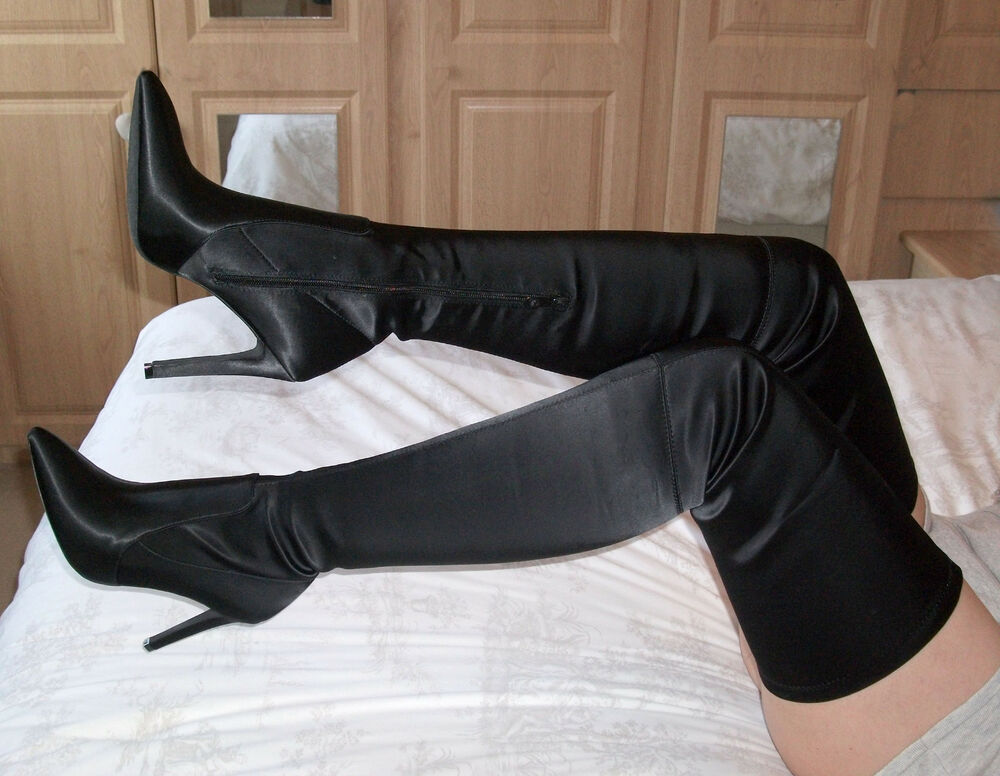 stretch satin leather high heel thigh crotch boots 5 6 7 8