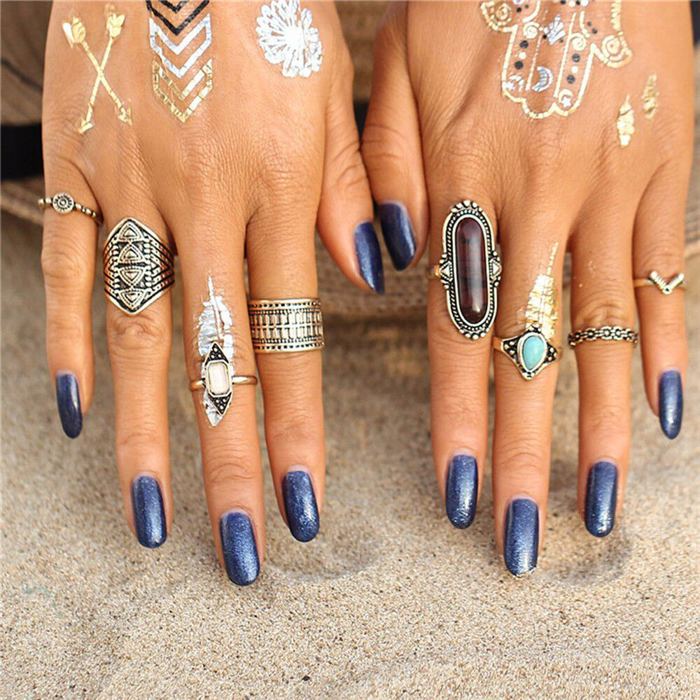 8pcs/set Fashion Women's Turquoise Above The Knuckle Ring ...