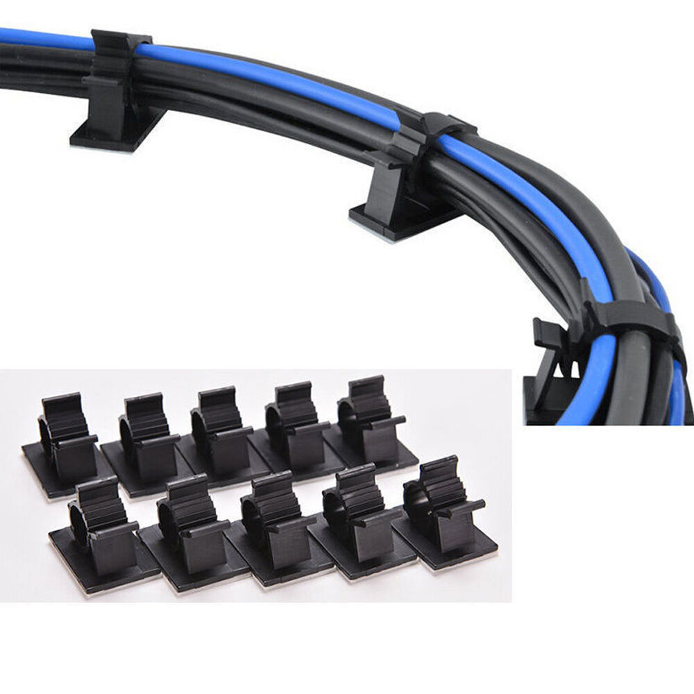 50x cable clips self adhesive cord management black wire holder organizer clamp ebay. Black Bedroom Furniture Sets. Home Design Ideas