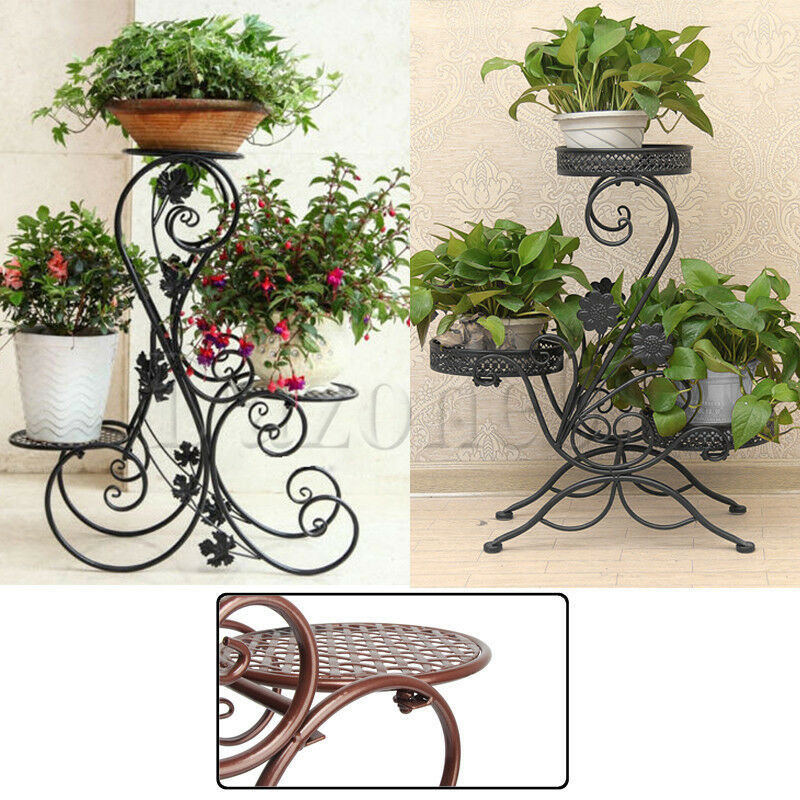 3 Tier Metal Shelves Flower Pot Plant Stand Display Indoor