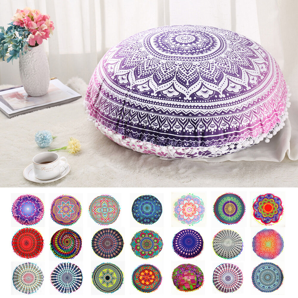 Mandala Round Throw Pillow Case Sofa Cushion Cover Indian