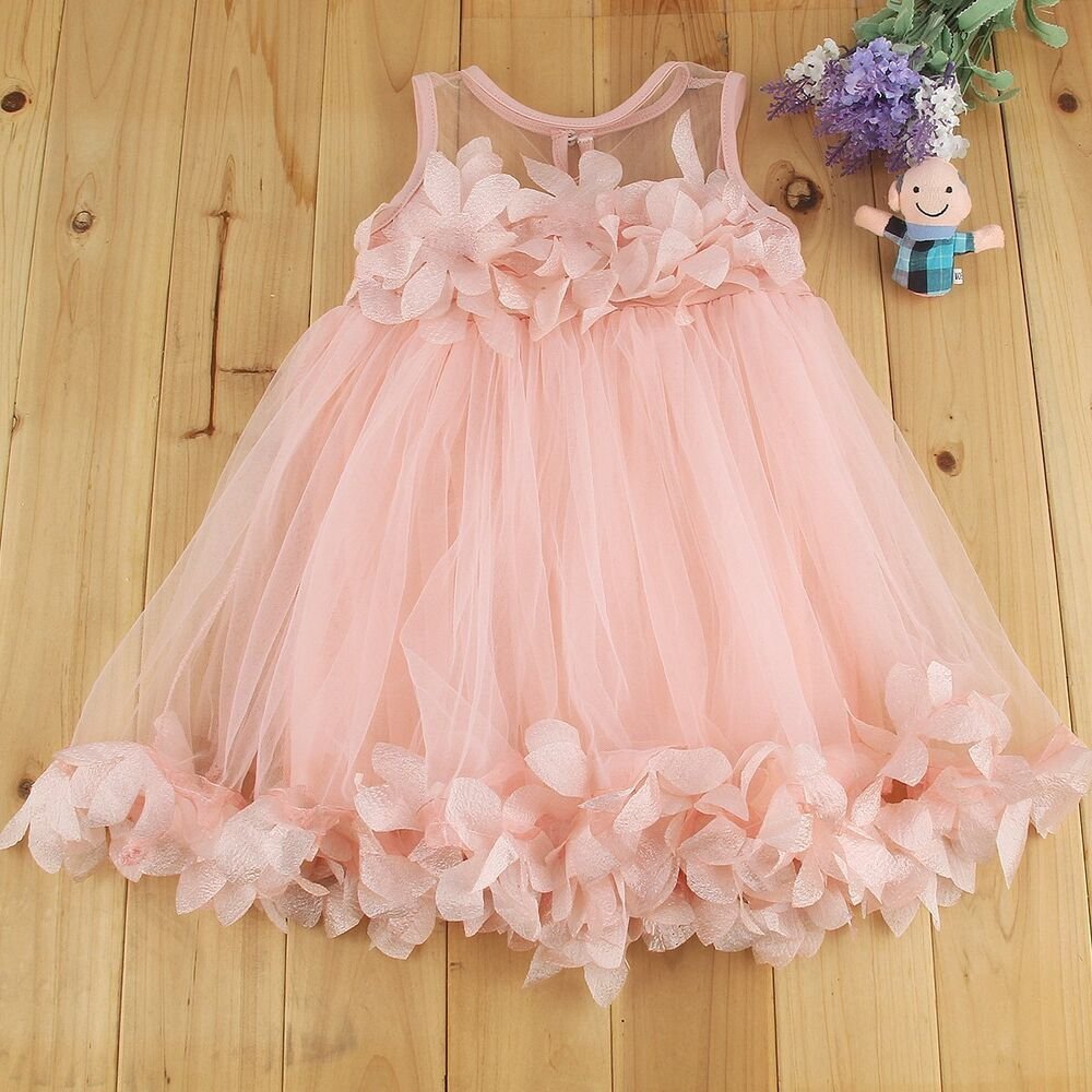 Toddler Baby Girl Lace Flower Princess Wedding Party Tulle ...