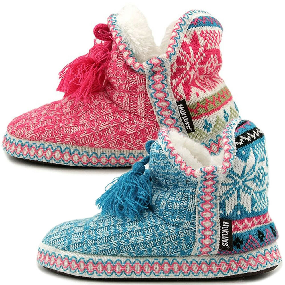Muk Luks Womens Slipper Boots Indoor House Shoes Cute