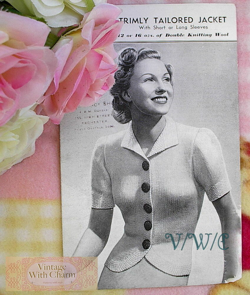 Vintage 1940\'s Knitting Pattern Lady\'s Tailored Jacket With 2 Sleeve ...