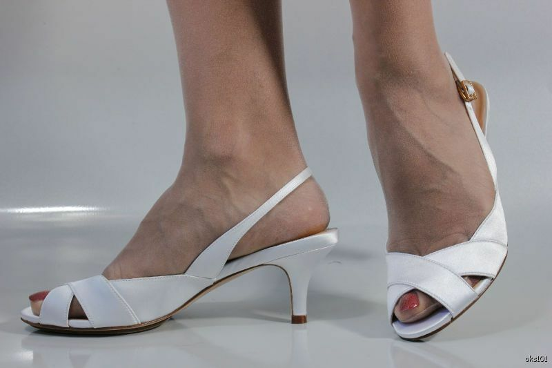New COLE HAAN Ceci Nike Air White Satin Open Toe Slingbacks Shoes