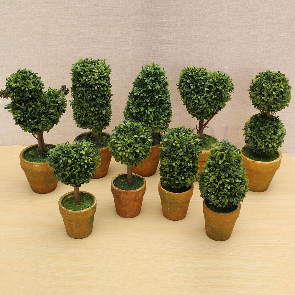 Artificial Plastic Trees Pots Plants Potted Decor Garden