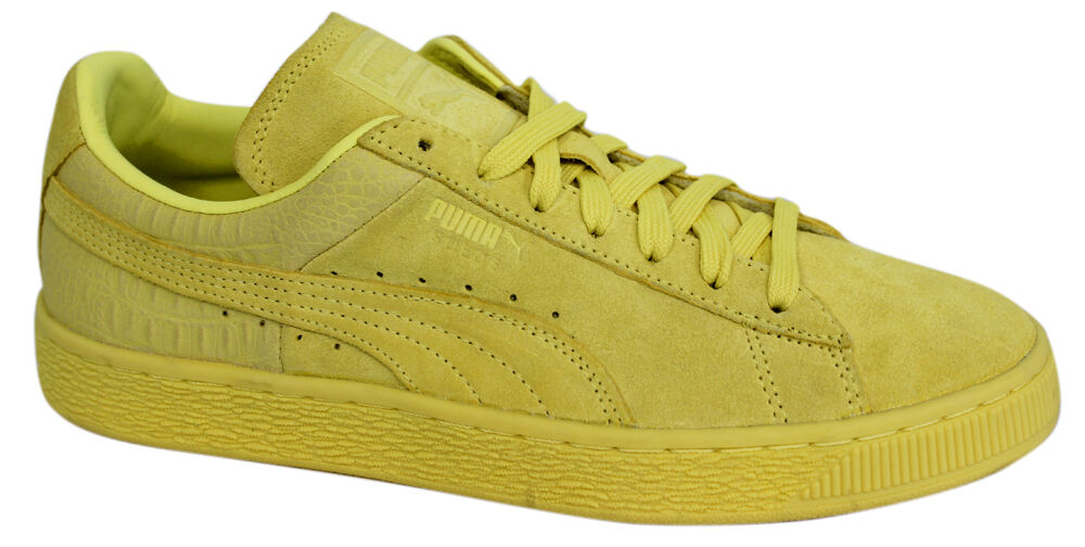 Puma Suede Classic Casual Emboss Mens Lace Up Limelight Trainers ... 48dbd3b25
