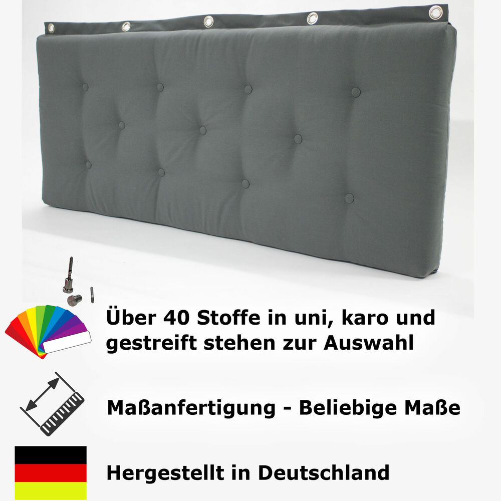 bettkopfteil betthaupt wandkissen wandpolster auf ma mit optional wandkn pfe ebay. Black Bedroom Furniture Sets. Home Design Ideas
