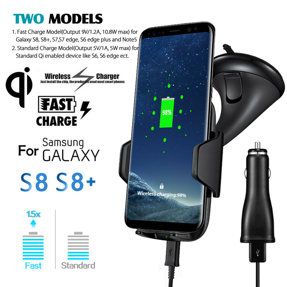 Fast Qi Wireless Charger Dock Pad Car Holder Charging