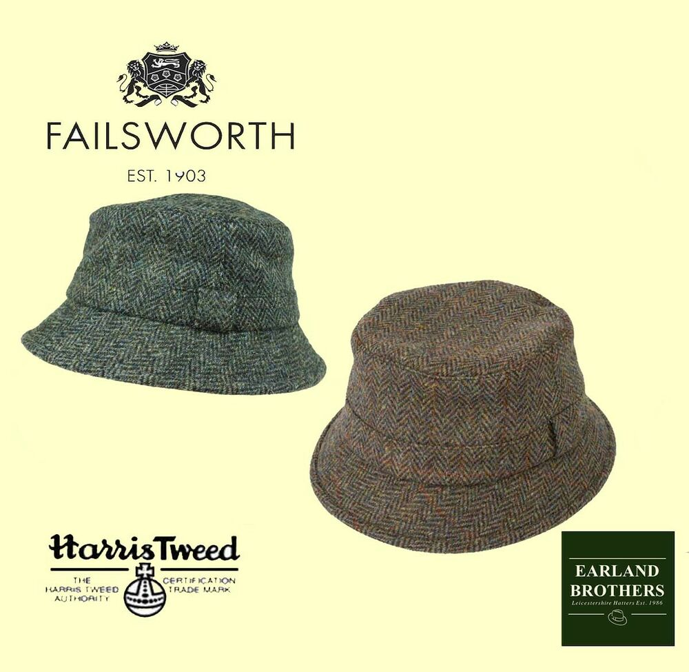 c1b9c371aba5a Failsworth Harris Tweed Bucket Hat Grouse Hat Fishermans Tweed Hat Brown or  Blue