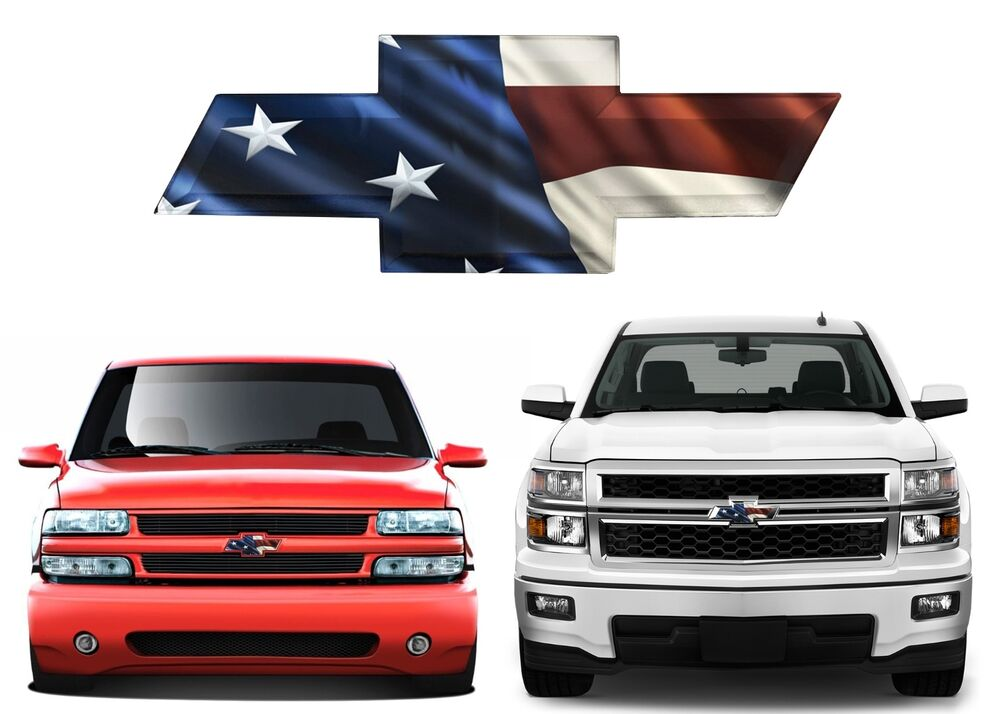 American Flag Front Bowtie Grill Tailgate Decal Overlay For