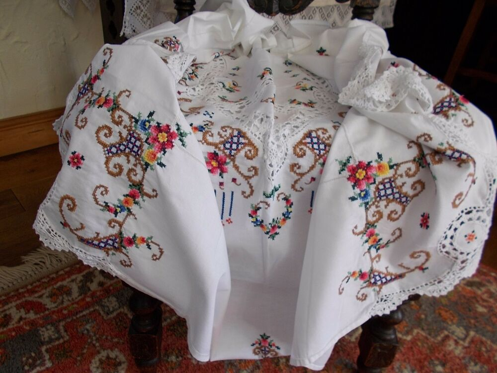 Antique vintage hand embroidered white cotton tablecloth for White cotton table cloth