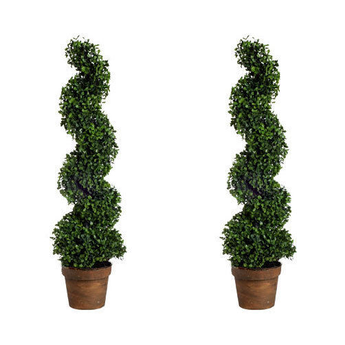 """Topiary Spiral Trees: Set Of 2 36"""" Artificial Boxwood Spiral Topiary Tree Plant"""