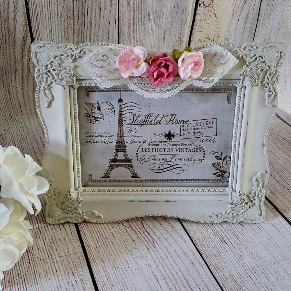 shabby cottage chic roses picture frame ornate french vtg style distressed lace ebay. Black Bedroom Furniture Sets. Home Design Ideas