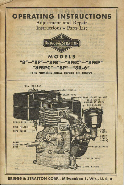 briggs   stratton model 8 repair manual parts owners briggs and stratton quantum engine service manual Briggs Stratton User Manual