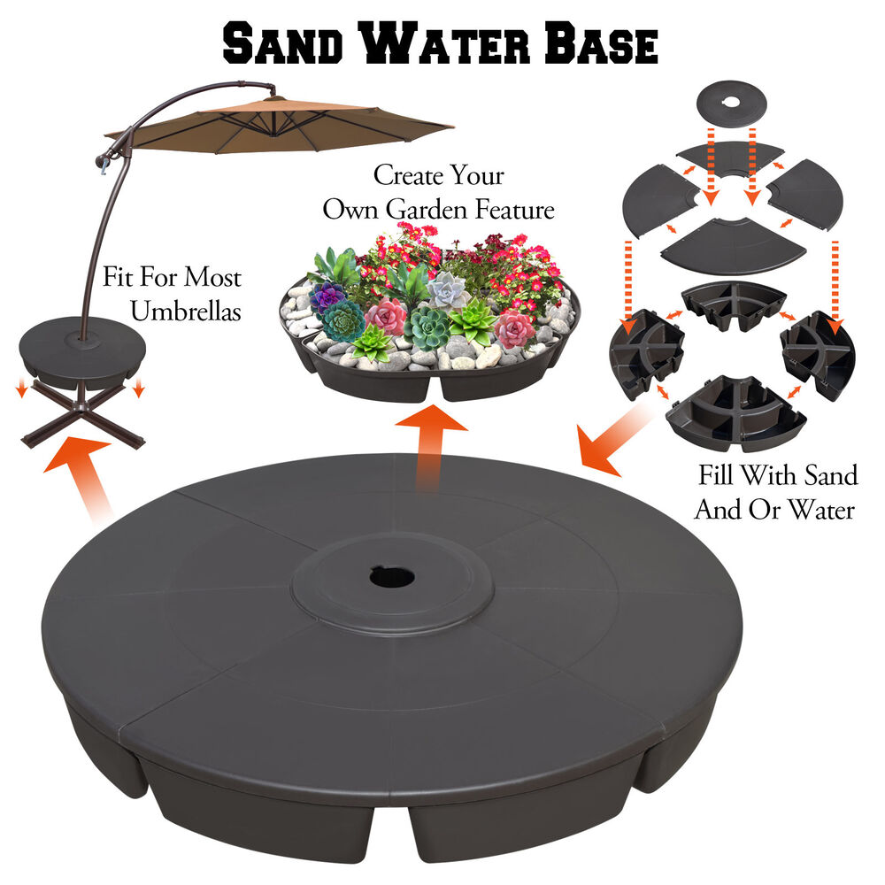 Umbrella Stand Water Filled: Outdoor Weight Base Patio Umbrella Stand Deck Parasol Sand