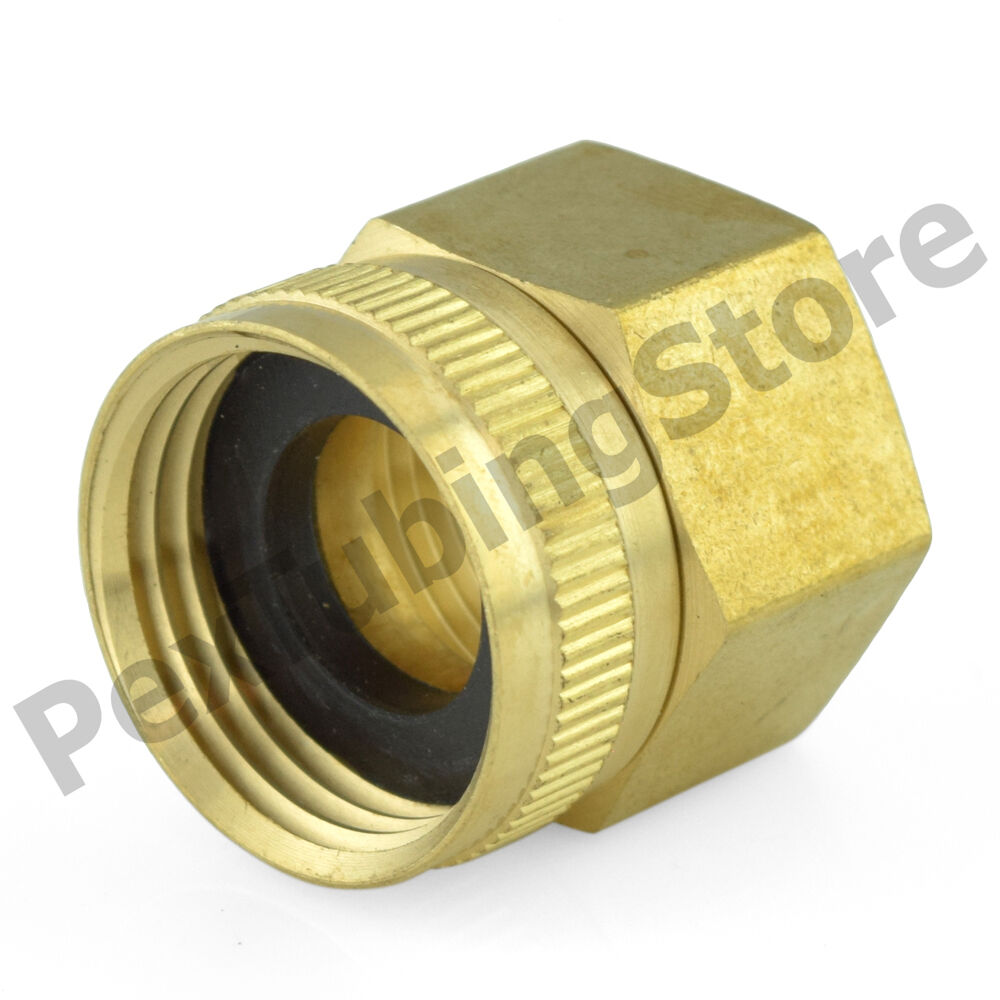 3 4 female garden hose x 3 4 fip threaded swivel brass adapter fitting ebay. Black Bedroom Furniture Sets. Home Design Ideas
