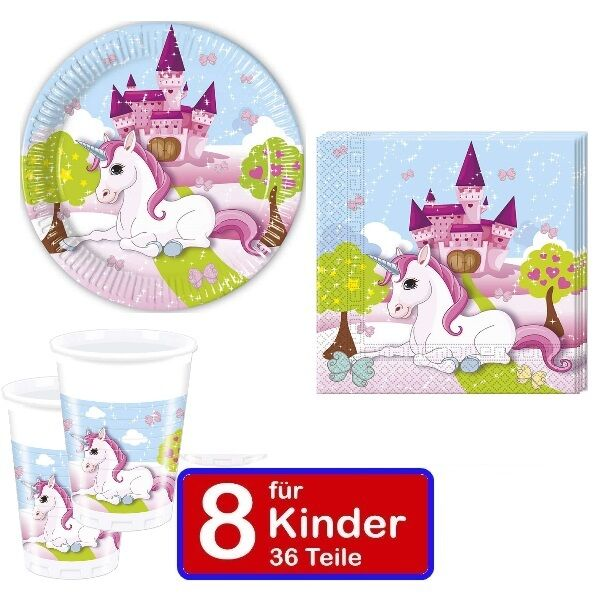 partyset einhorn teller becher servietten f r 8 kinder kindergeburtstag 36 teile ebay. Black Bedroom Furniture Sets. Home Design Ideas