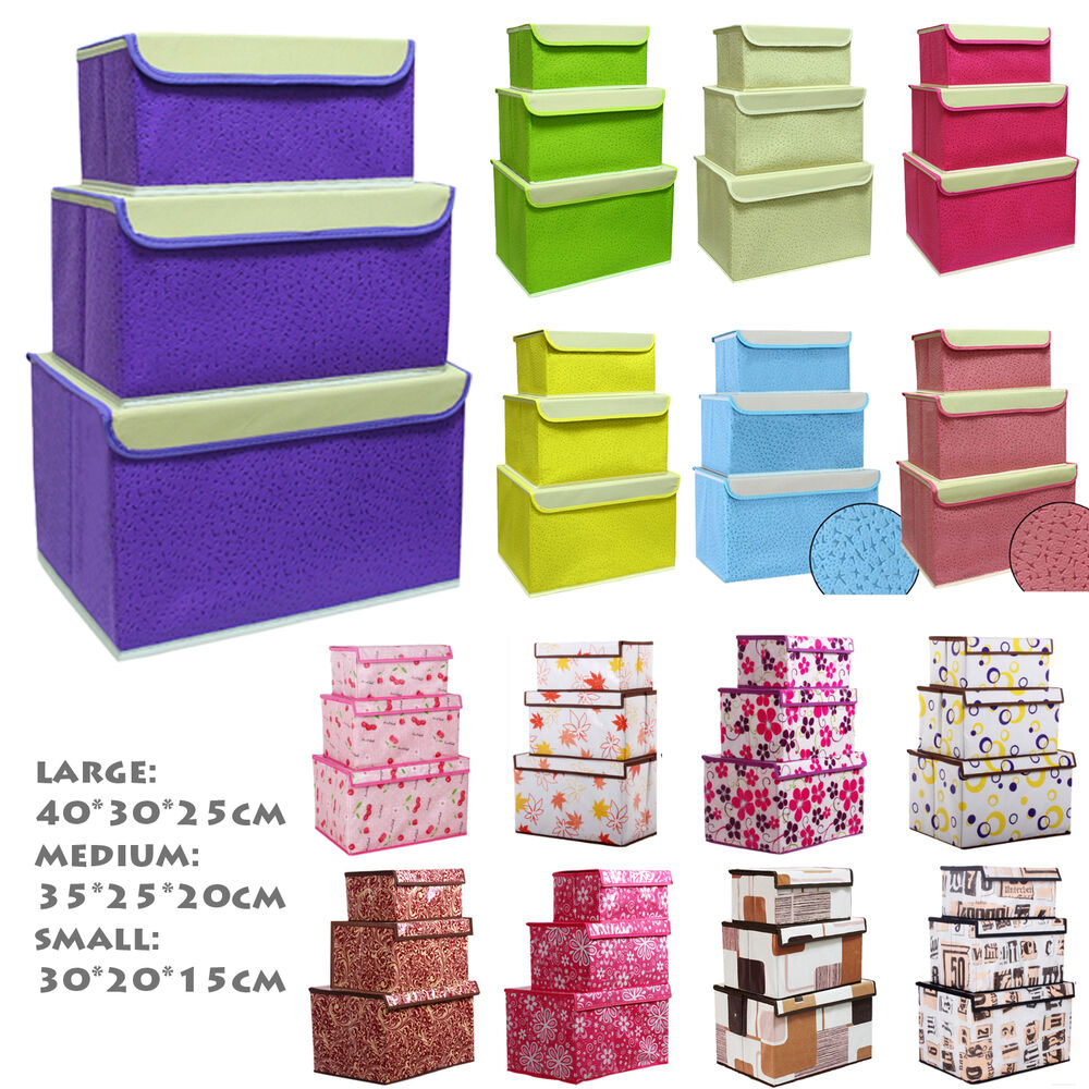 Canvas Storage Boxes For Wardrobes: NEW Idomcats Case With Lid Fabric Boxes Flower Organizer
