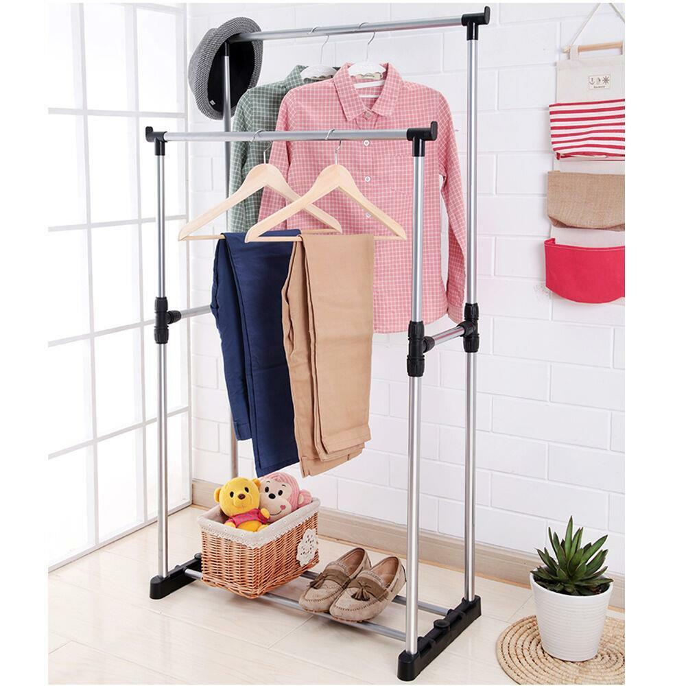 double heavy duty rail portable clothes hanger rolling garment rack adjustable 740120522586 ebay. Black Bedroom Furniture Sets. Home Design Ideas