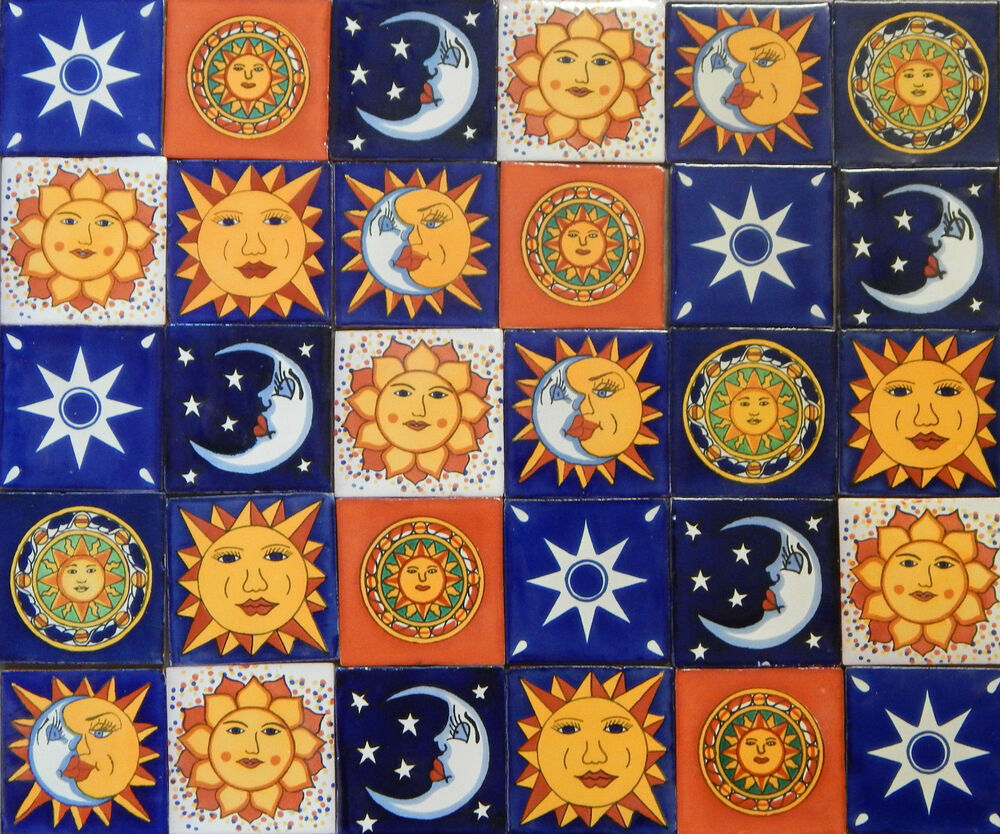 100 mexican talavera ceramic tiles 4 moon sun star designs ebay. Black Bedroom Furniture Sets. Home Design Ideas