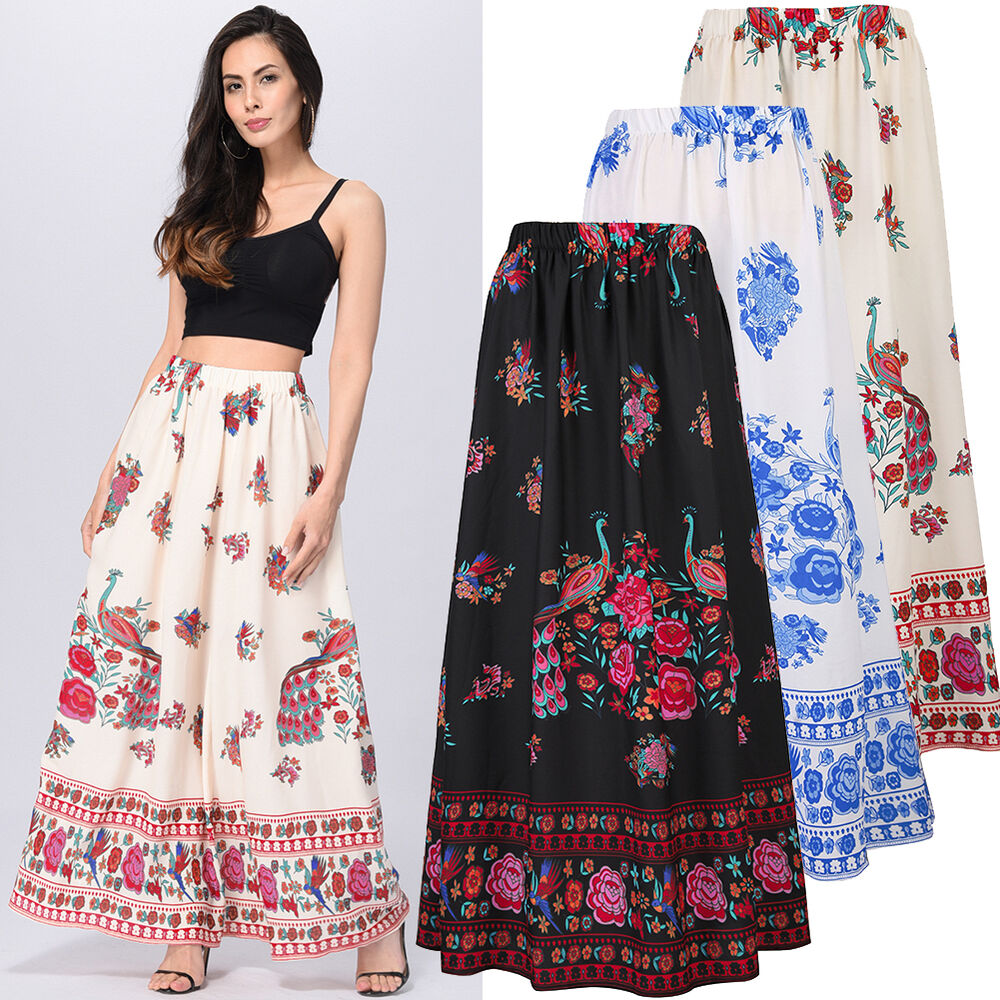 Boho Vintage Floral Pattern Long Dress Womens High Waist A ...