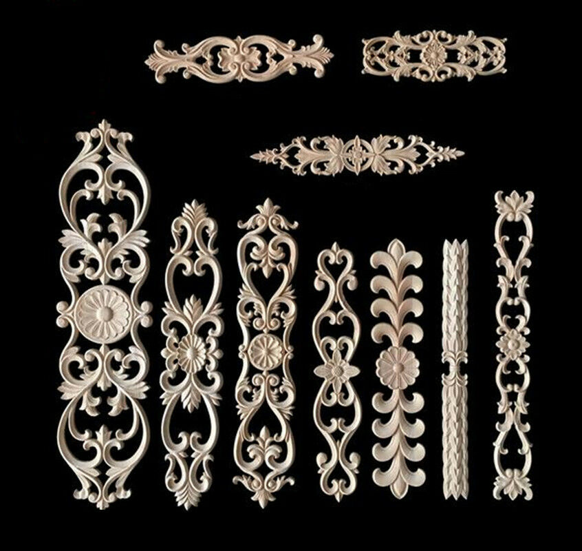 Wood carved applique frame onlay furniture decoration for Decorative wood onlays