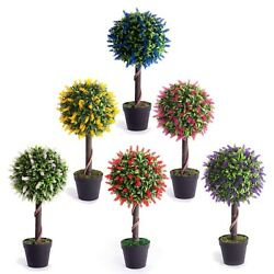 Best Artificial 2ft 60cm Lavender Flower Ball Topiary Tree Garden Outdoor Plant