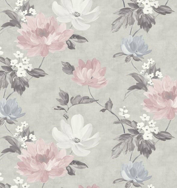 Flower Wallpaper Floral Abstract Watercolour Modern Grey