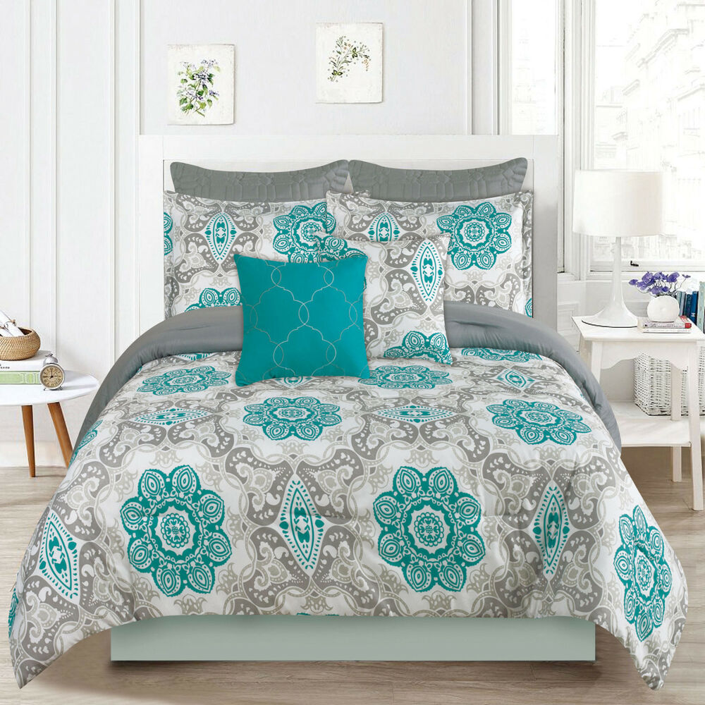 king or queen 7 piece bedding comforter bed set teal blue 10880 | s l1000