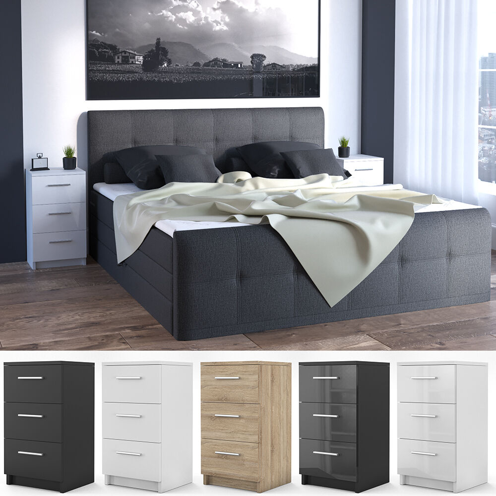 vicco nachtkommode f r boxspringbett nachtschrank nachttisch kommode schrank ebay. Black Bedroom Furniture Sets. Home Design Ideas
