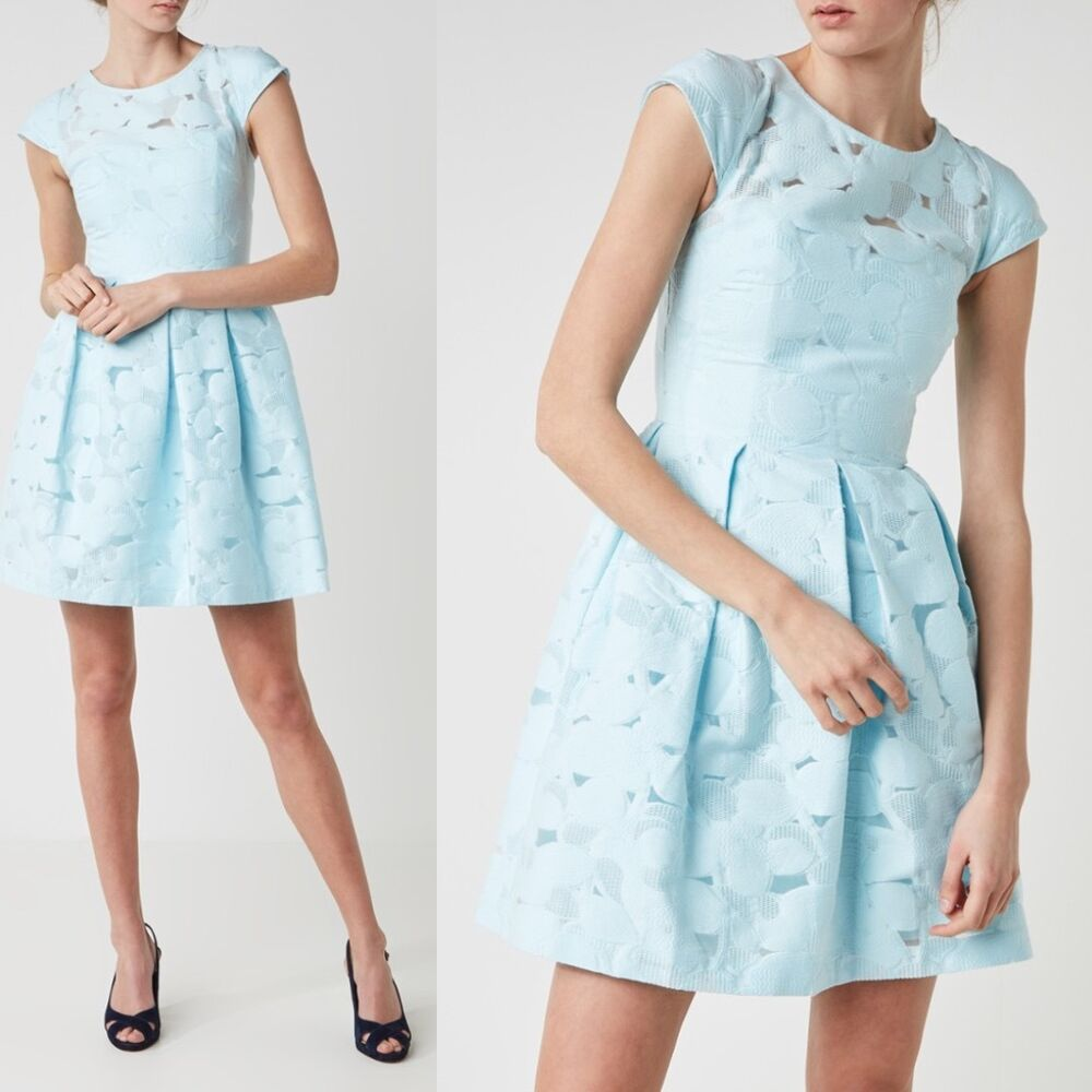 66e009609f4 Details about Ted Baker London LAURETO Burn out floral lace party dress  baby blue NEW  365