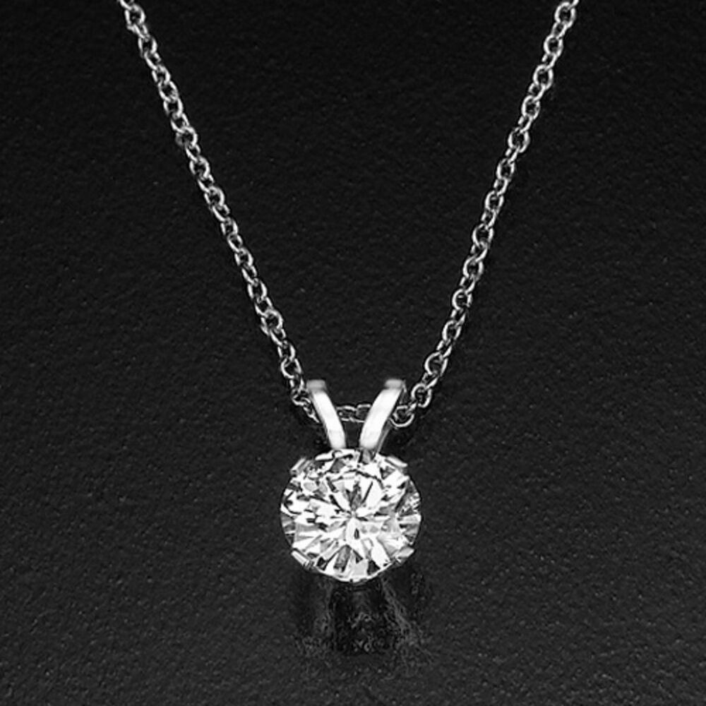 2 3 ct solitaire round enhanced diamond pendant necklace f. Black Bedroom Furniture Sets. Home Design Ideas